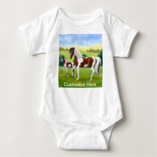 Tri Paint Mare with Foal Customizable Baby One Pie Baby Bodysuit