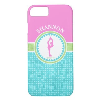 Tri-Pastel Color Figure Skating With Aqua Tile iPhone 8/7 Case