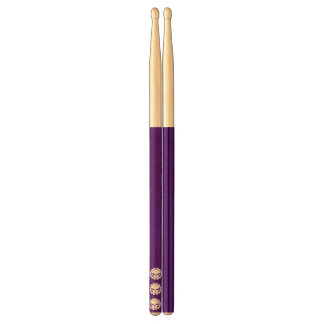 Tri-skull Dark Purple Drumsticks