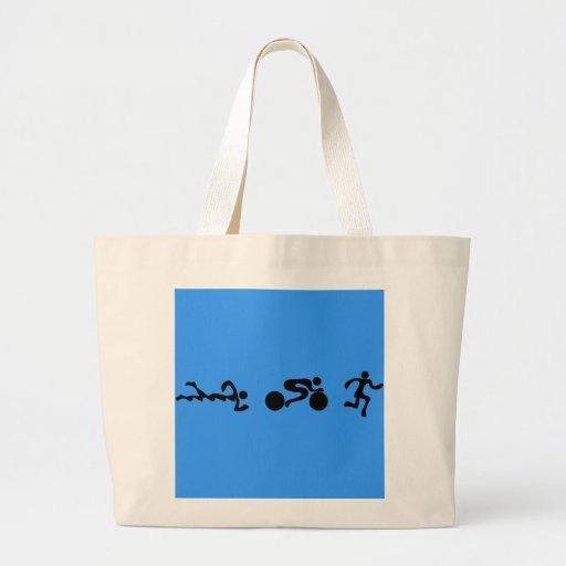 TRI Triathlon Swim Bike Run BLACK Bumper Design Tote Bag