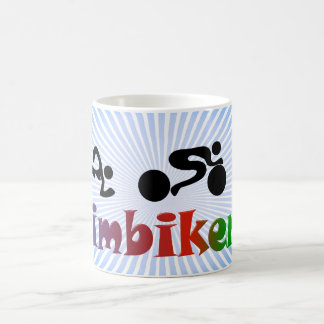 TRI Triathlon Swim Bike Run BLACK Bumper Design Classic White Coffee Mug