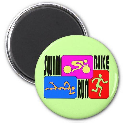 TRI Triathlon Swim Bike Run BRIGHT Square Design Fridge Magnet