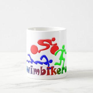 TRI Triathlon Swim Bike Run COLOR Figures Design Basic White Mug