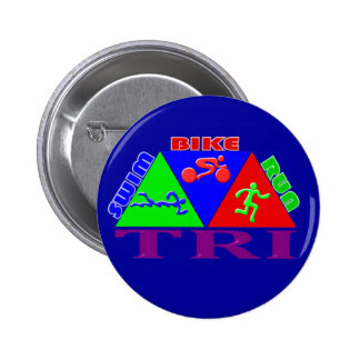 TRI Triathlon Swim Bike Run PYRAMID Design 6 Cm Round Badge