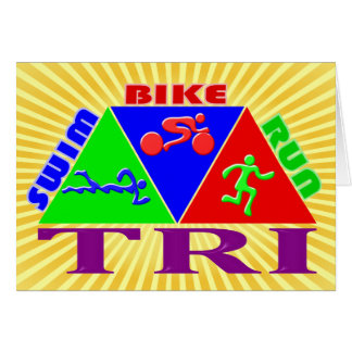 TRI Triathlon Swim Bike Run PYRAMID Design Card