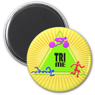TRI Triathlon Swim Bike Run TRIANGLE TRI ME Design 6 Cm Round Magnet