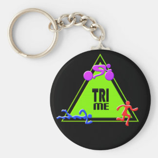 TRI Triathlon Swim Bike Run TRIANGLE TRI ME Design Basic Round Button Key Ring