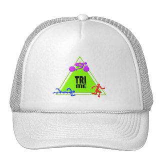 TRI Triathlon Swim Bike Run TRIANGLE TRI ME Design Cap