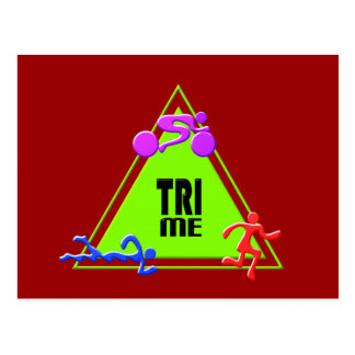 TRI Triathlon Swim Bike Run TRIANGLE TRI ME Design Postcard