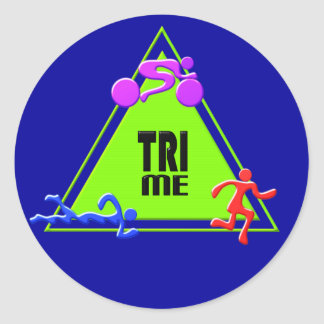 TRI Triathlon Swim Bike Run TRIANGLE TRI ME Design Round Sticker
