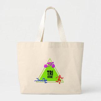 TRI Triathlon Swim Bike Run TRIANGLE TRI ME Design Jumbo Tote Bag