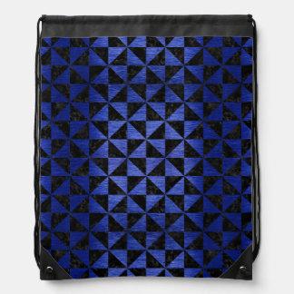 TRIANGLE1 BLACK MARBLE & BLUE BRUSHED METAL DRAWSTRING BAG