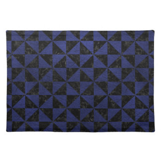 TRIANGLE1 BLACK MARBLE & BLUE LEATHER PLACEMAT