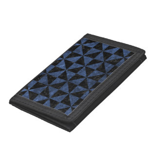 TRIANGLE1 BLACK MARBLE & BLUE STONE TRIFOLD WALLETS