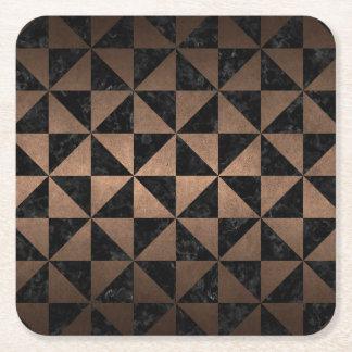 TRIANGLE1 BLACK MARBLE & BRONZE METAL SQUARE PAPER COASTER
