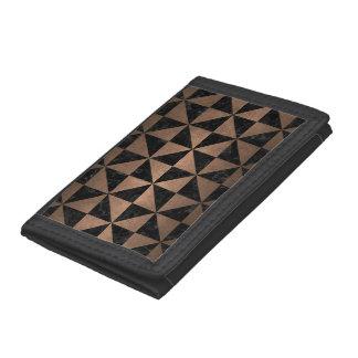 TRIANGLE1 BLACK MARBLE & BRONZE METAL TRI-FOLD WALLETS