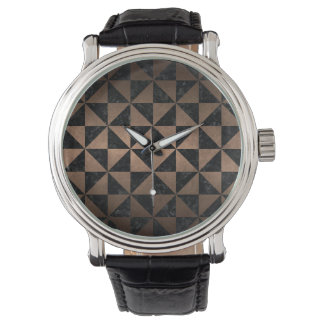 TRIANGLE1 BLACK MARBLE & BRONZE METAL WATCH
