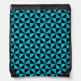 TRIANGLE1 BLACK MARBLE & TURQUOISE MARBLE DRAWSTRING BAG