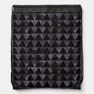 TRIANGLE2 BLACK MARBLE & BLACK WATERCOLOR DRAWSTRING BAG
