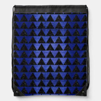 TRIANGLE2 BLACK MARBLE & BLUE BRUSHED METAL DRAWSTRING BAG