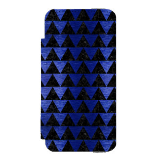 TRIANGLE2 BLACK MARBLE & BLUE BRUSHED METAL INCIPIO WATSON™ iPhone 5 WALLET CASE