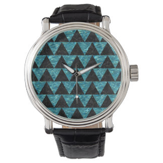 TRIANGLE2 BLACK MARBLE & BLUE-GREEN WATER WATCH