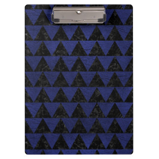 TRIANGLE2 BLACK MARBLE & BLUE LEATHER CLIPBOARD