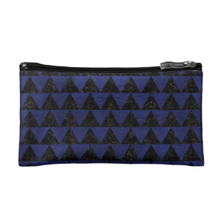 TRIANGLE2 BLACK MARBLE & BLUE LEATHER COSMETIC BAG