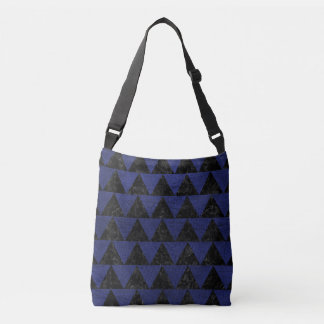 TRIANGLE2 BLACK MARBLE & BLUE LEATHER CROSSBODY BAG