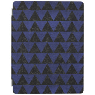 TRIANGLE2 BLACK MARBLE & BLUE LEATHER iPad COVER