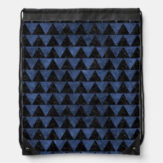 TRIANGLE2 BLACK MARBLE & BLUE STONE DRAWSTRING BAG