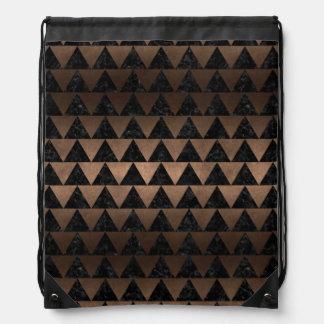 TRIANGLE2 BLACK MARBLE & BRONZE METAL DRAWSTRING BAG