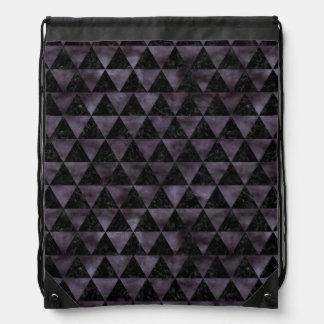 TRIANGLE3 BLACK MARBLE & BLACK WATERCOLOR DRAWSTRING BAG