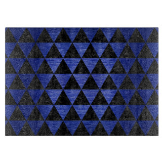 TRIANGLE3 BLACK MARBLE & BLUE BRUSHED METAL CUTTING BOARD