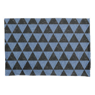 TRIANGLE3 BLACK MARBLE & BLUE DENIM PILLOWCASE