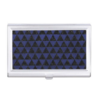 TRIANGLE3 BLACK MARBLE & BLUE LEATHER BUSINESS CARD HOLDER