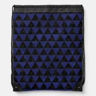 TRIANGLE3 BLACK MARBLE & BLUE LEATHER DRAWSTRING BAG