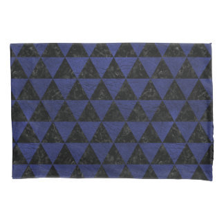 TRIANGLE3 BLACK MARBLE & BLUE LEATHER PILLOWCASE