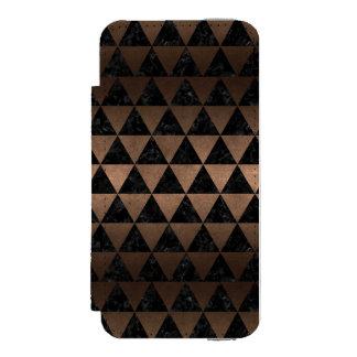 TRIANGLE3 BLACK MARBLE & BRONZE METAL INCIPIO WATSON™ iPhone 5 WALLET CASE