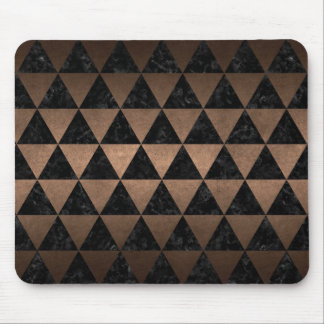 TRIANGLE3 BLACK MARBLE & BRONZE METAL MOUSE PAD