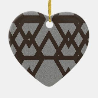 Triangle and Diamond Gray Pattern Ceramic Heart Decoration