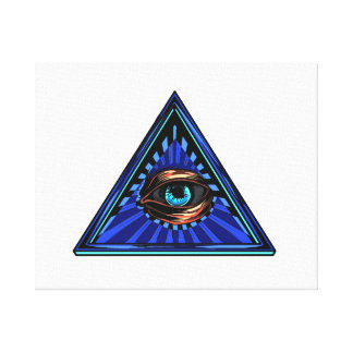 Triangle blue with eye Eye of Providence Canvas Print