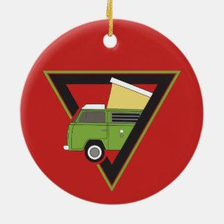 triangle classic green camper van ceramic ornament