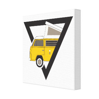 triangle classic yellow bus canvas print