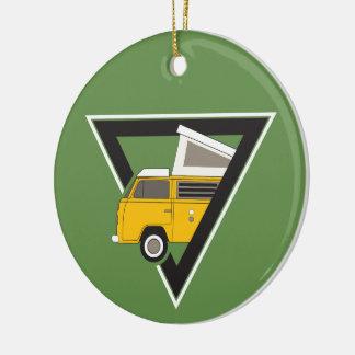 triangle classic yellow bus ceramic ornament
