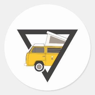 triangle classic yellow bus classic round sticker