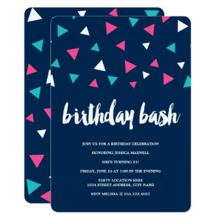 Triangle Confetti Birthday Party Invitation