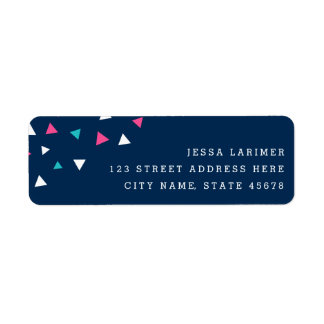 Triangle Confetti Return Address Labels / Navy