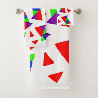 Triangle design bath towel set