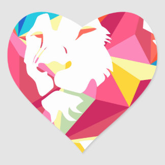 Triangle Geomatric Lion Heart Sticker